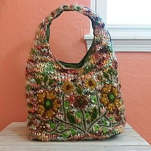 NWOT Boho Chic Fuzzy Yarn Knit Shoulder Bag